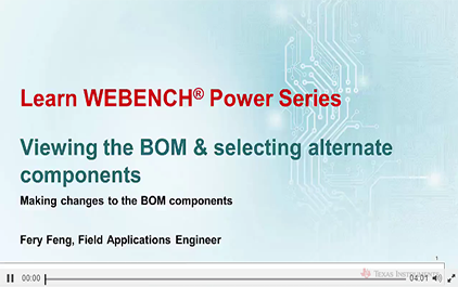 使用WEBENCH®Power Designer查看BOM